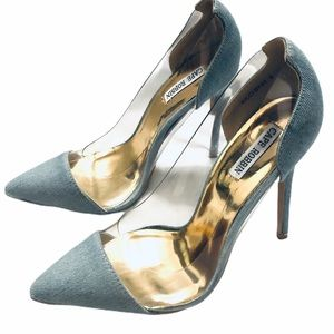 Cape Robin Ricci denim and clear plastic heels